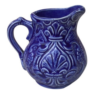 Blue Majolica Creamer Pitcher Onnaing For Sale