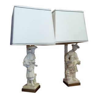 Vintage Chinoiserie Terra Cotta Figural Lamps by Chapman - A Pair For Sale