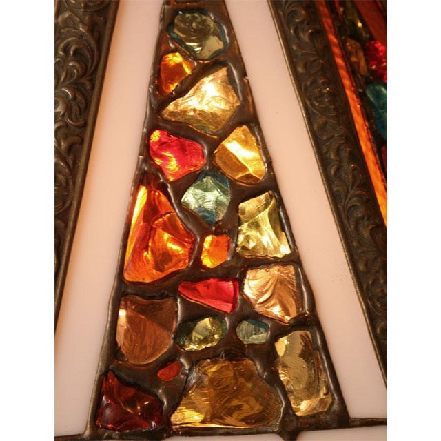 Brutal Stained Glass Modern Hollywood Regency Chandelier 1950s - Image 7 of 10