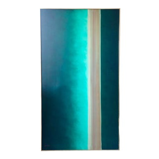 1970s Robert Lawson Green Abstract Painting For Sale
