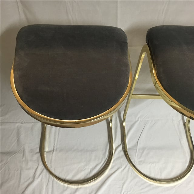 Vintage Brass & Gray Velvet Bar Stools - a Pair For Sale - Image 5 of 8