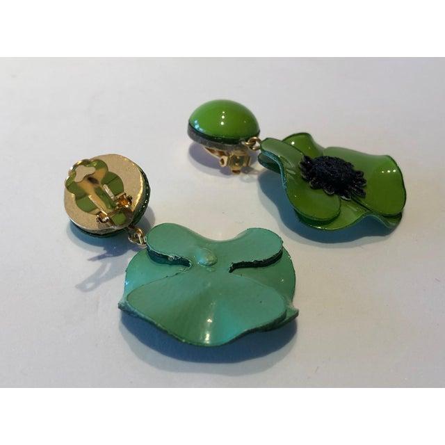 Enamel Cilea Green Poppy French Statement Earrings For Sale - Image 7 of 11