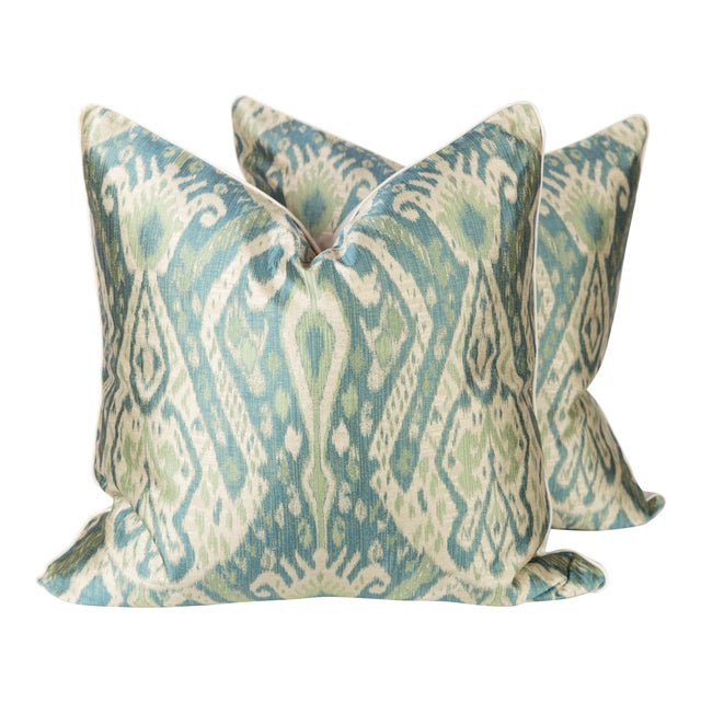 Teal & Green Sateen Ikat Pillows - A Pair For Sale