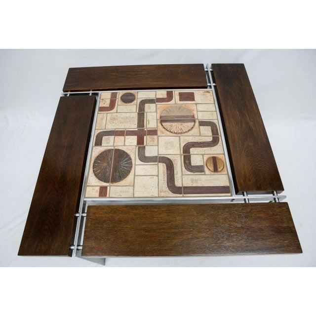 Abstract Danish Tile Top Coffee Table For Sale - Image 3 of 9