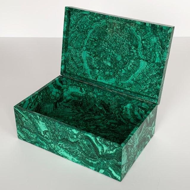 Hollywood Regency Large Modern Malachite Stone Jewelry Box For Sale - Image 3 of 13