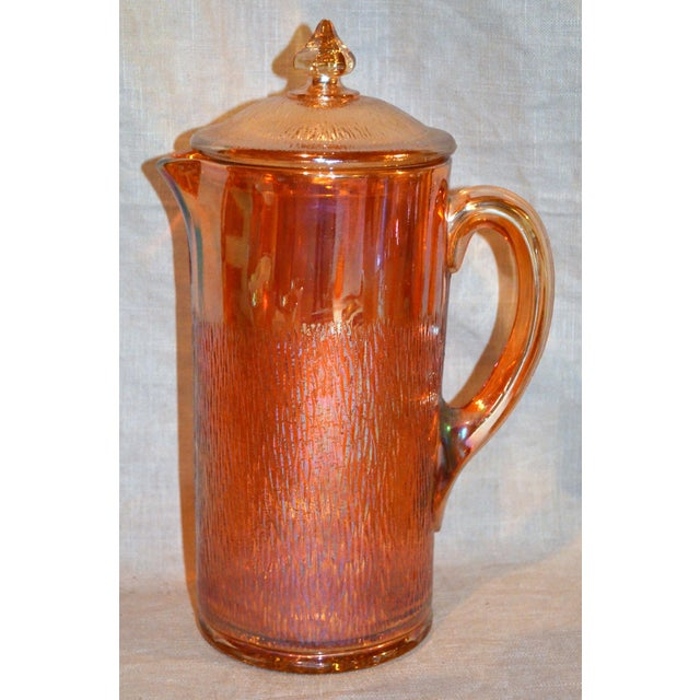 """Jeannette Marigold Tree Bark Pitcher Set. Pitcher has a lid. Three 5.5"""" glasses and four 4.5"""" glasses. A striking set for..."""