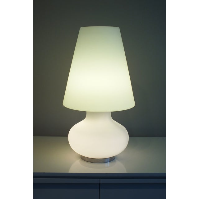 "Mid-Century 22"" Tall Frosted Glass Lamp - Image 5 of 10"