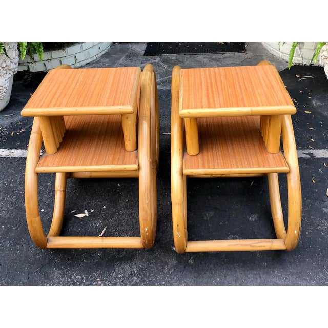 Mid-Century Modern 1950's Bent Rattan Bamboo Side Table Nightstands - a Pair For Sale - Image 3 of 6