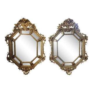 French Louis XIV Octagonal Gilt Palace Mirrors - a Pair For Sale