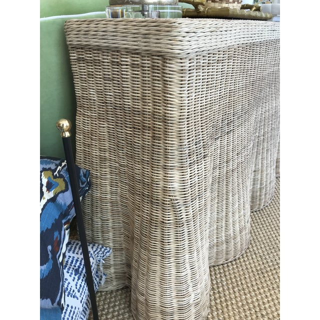 Natural Finish Rattan Scalloped Console For Sale - Image 4 of 8