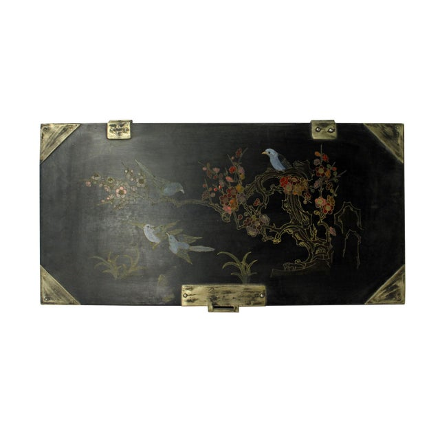 This is a handmade Chinese accent decorative box in a rectangular shape with metal hardware at the corner. The surface is...