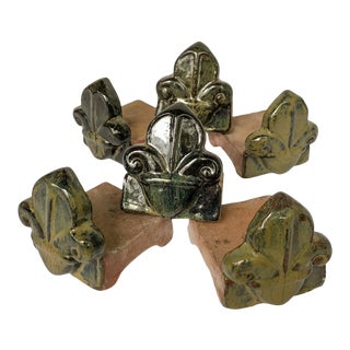 Garden Flower Pot Riser Feet Fleur De Lis, Set of 6 For Sale