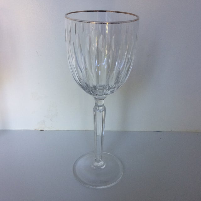 Cut Crystal Gold Rim Wine Glasses - a Pair For Sale - Image 4 of 13