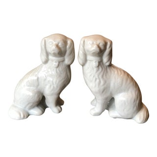 Staffordshire Style Ceramic Dog Figurines - A Pair For Sale