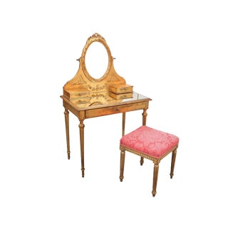 French Style Gilt Vanity & Coordinating Stool For Sale