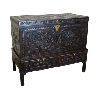 Antique 19th Century Carved Large Coffer or Lidded Blanket Chest For Sale
