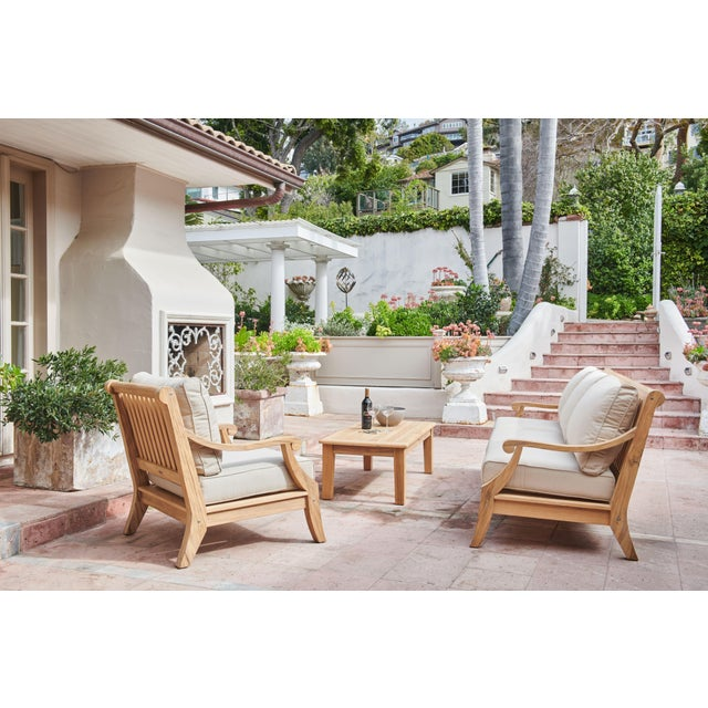 Sonoma Teak Deep Seating Outdoor Club Chair with Sunbrella Antique Beige Cushion For Sale - Image 4 of 6