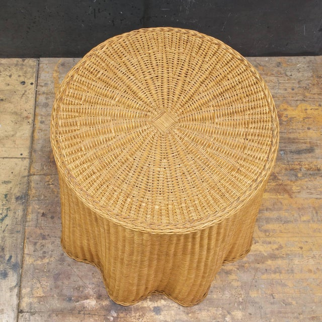 Mid-Century Modern Trompe l'Oeil Rattan Draped Wicker Ghost Entryway Table Pedestal Mid-Century For Sale - Image 3 of 9
