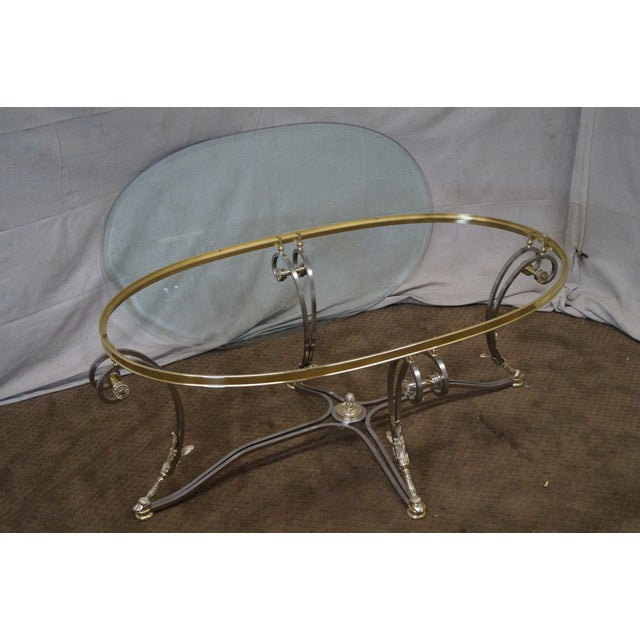 LaBarge Regency Brushed Steel & Brass Coffee Table - Image 10 of 10