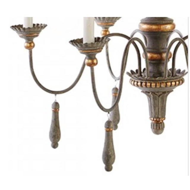 French Provincial Two Chic Six-arm Chandeliers in Lovely French Grey Finish, Gilt Accents For Sale - Image 3 of 10