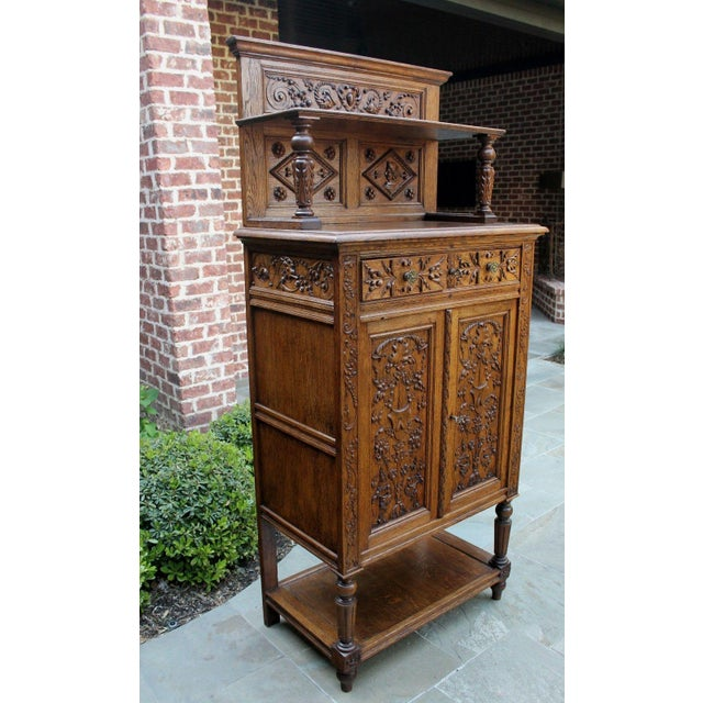 Gothic Antique French Oak 19th Century Renaissance Revival Gothic Vestry Sacristy Wine Altar Cabinet Bookcase For Sale - Image 3 of 13
