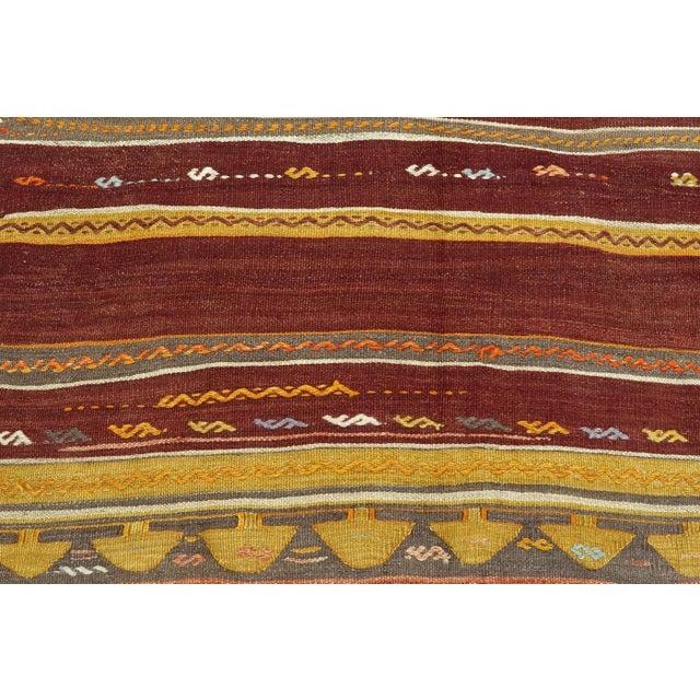 Anatolian Kilim Tribal Turkish Kilim Rug-4′8″ × 6′1″ For Sale - Image 9 of 13
