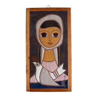 Mid-Century Panos Valsamakis Woman & Dove Ceramic Wall Plaque