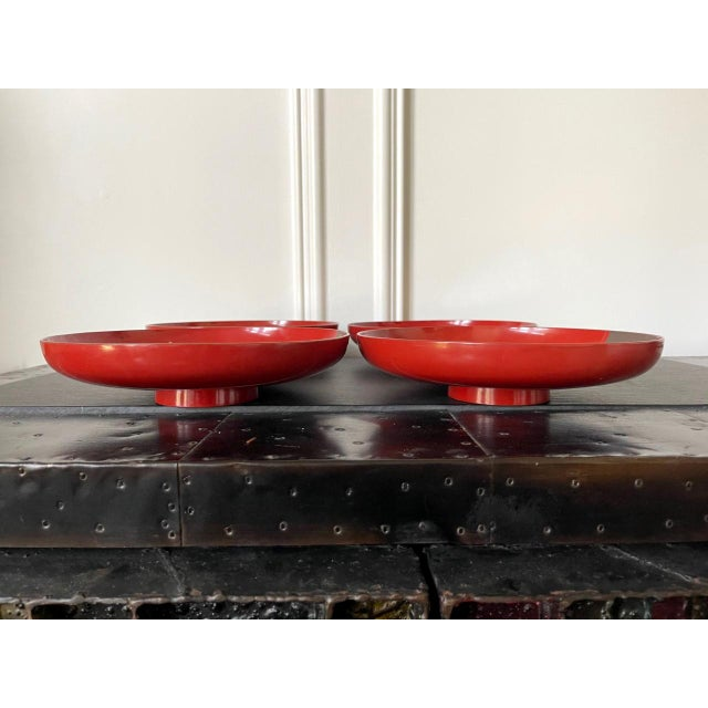 Japanese Maki-e Lacquered Pedestal Dishes - Set of 4 For Sale - Image 4 of 10