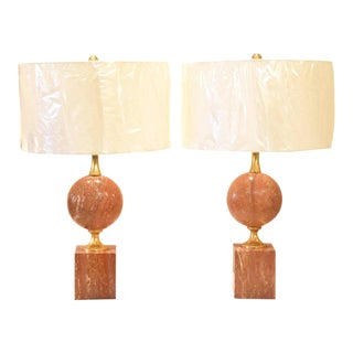 French Coral Travertine Maison Barbier Lamps - A Pair For Sale