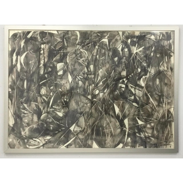 Large Format Framed Abstract Ink and Charcoal Drawing For Sale - Image 13 of 13
