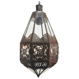 Moroccan Light Fixture in Clear Glass and Metal Filigree Moorish Designs For Sale