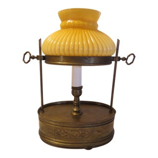 Antique Victorian Candle Stick Brass Boudoir Lamp For Sale