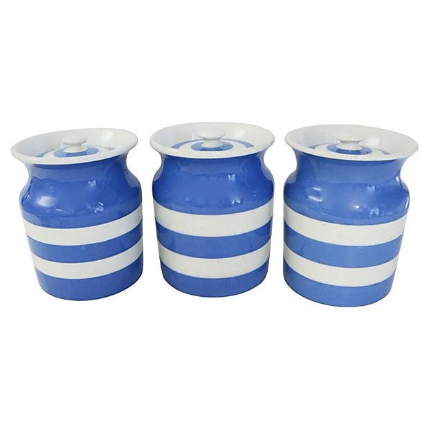 Vintage English Cornishware Canisters - Set of 3 - Image 1 of 4