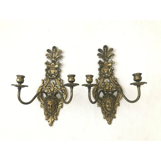 1950s Vintage Louis IV Versace Style Brass Candle Holders Sconces - a Pair For Sale - Image 11 of 11