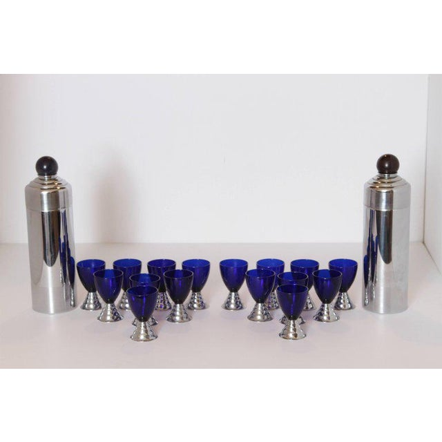 Pair of sets, PRICED PER SET Machine Age Art Deco Chase Chrome Blue Moon Cocktail Sets Pair Removable deep amethyst...