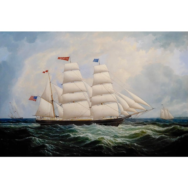 American 19th Century Portrait of an American Sailing Ship- Oil Painting -C1860s For Sale - Image 3 of 12