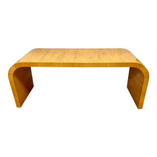 1970s Mid Century Modern Waterfall Console Table For Sale