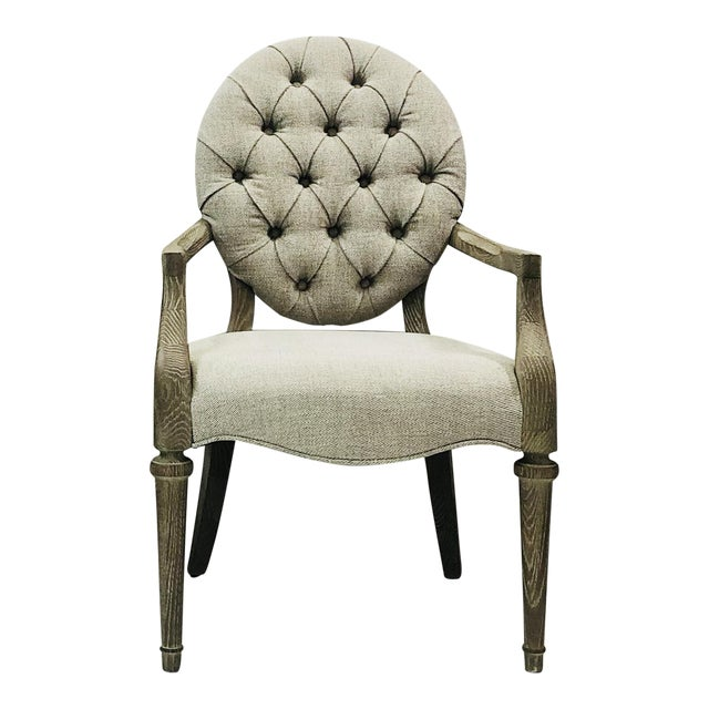 Contemporary Tufted Upholstered Armchair For Sale