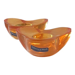 Villeroy and Boch Orange Glass Candleholders - a Pair For Sale