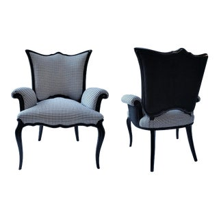 Mid 20th Century Black and White Houndstooth Armchairs - a Pair For Sale