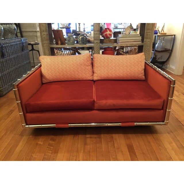 Adrian Pearsall Faux Bamboo Loveseat - Image 2 of 6