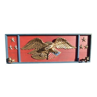 Vintage Federal Style Gold Eagle Motif Plaque Picture W Candle Holder