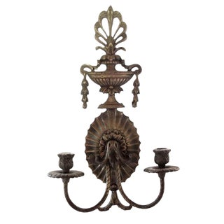 French Two Armed Bronze Candle Sconce For Sale