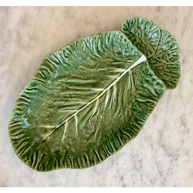Vintage Majolica Green Cabbage Divided Serving Platter For Sale In Chicago - Image 6 of 6