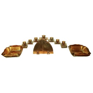 Copper Candle Holder, Napkin Holder & Dishes - 4 Pieces For Sale