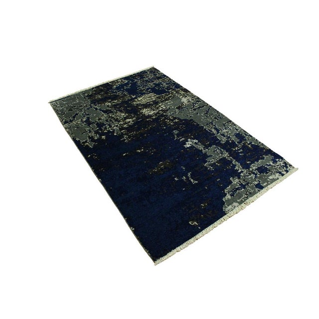 Abstract Abstract Modern Terisa Blue/Ivory Wool&Silk Rug - 4'2 X 6'5 For Sale - Image 3 of 8