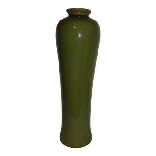 1980s Vintage Green Celadon Crackle Vase For Sale