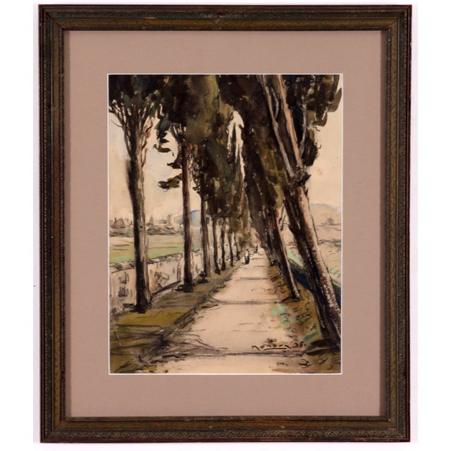 Monory 1936 French Country Path Painting - Image 1 of 5