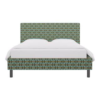 Queen Tailored Platform Bed in Teal Geo For Sale