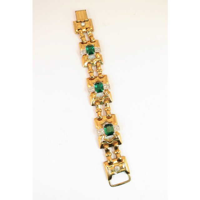 1930s Art Deco McClelland Barclay Geometric EmErald Bracelet 1930s For Sale - Image 5 of 11